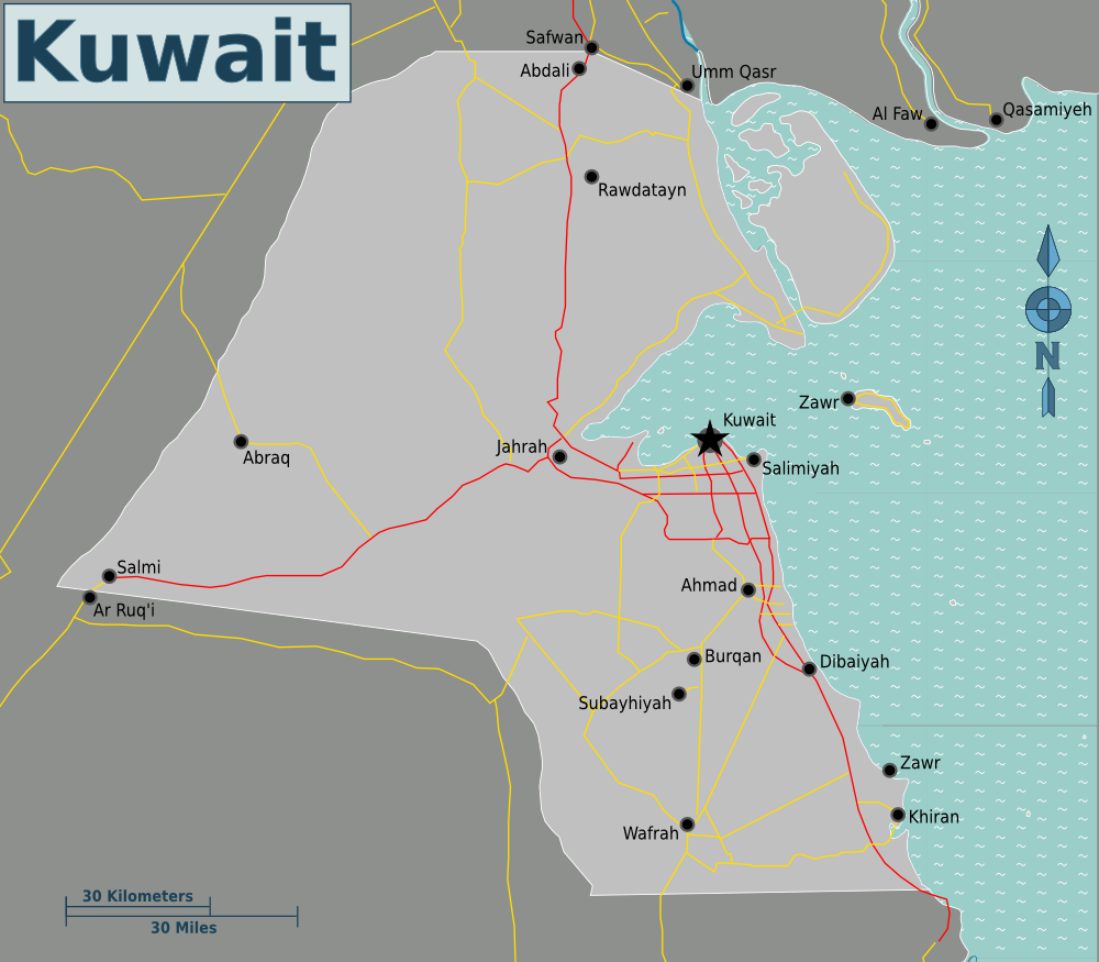 Map of Kuwait (Overview Map) : Worldofmaps.net - online Maps ...